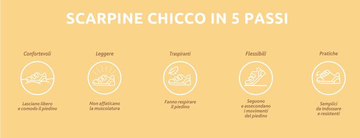 Scarpine Chicco in 5 passi: confortevoli, leggere, traspiranti, flessibili, pratiche.
