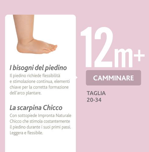 La scarpina con Impronta Naturale Chicco stimola il piedino durante i suoi primi passi.