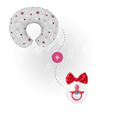Cuscino Boppy Snowflake e Gommotto Physio Rosso 0-6 m
