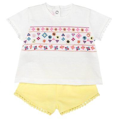 Set t-shirt e pantaloncino ricami geometrici bimba